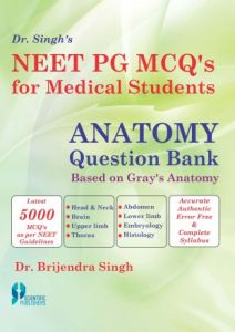 Dr. Singh's Neet PG MCQ's for Medical Students : Anatomy Question Bank: Based on Gray's Anatomy